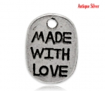 """Made with love"" Anhänger Antik silber"